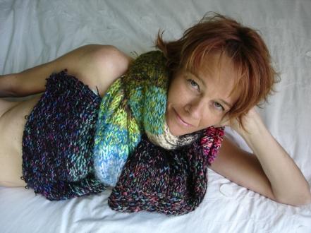 écharpe étole laine tricotée main