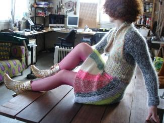 robe douillette laine tricotée main