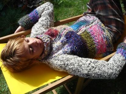 blouson zippé laine tricotée main