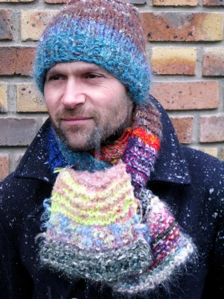 Bonnet et écharpe laine tricotée main