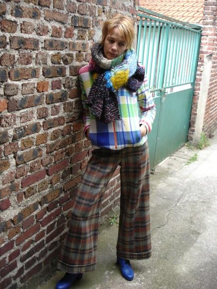 pantalon et blouson lainage étole laine tricotée main