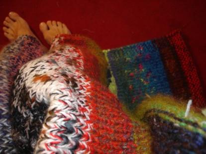 couverture laine tricotée main