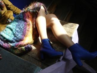 jupe laine tricotée main