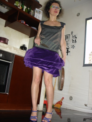 jupe velours côtelé top laine et lurex