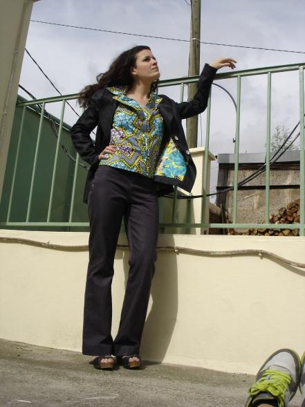 tailleur jean chemisette coton