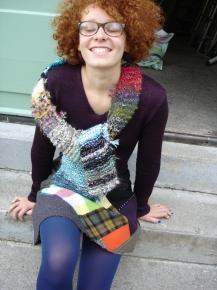 jupe patchwork pull laine tricotée machine écharpe tricotée main