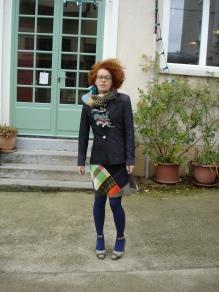 jupe patchwork laine veste jean écharpe laine tricotée main